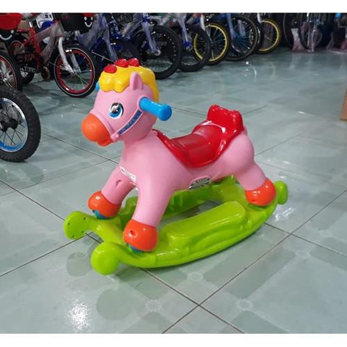 Ngựa bập bênh 2 chế độ có Nhạc , bánh xe trượt, thùng chưa đồ