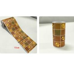 Cuộn 10m len dán viền tường keo sẵn ô vuông nâu keo sẵn - ngang 10cm x dài 10cm