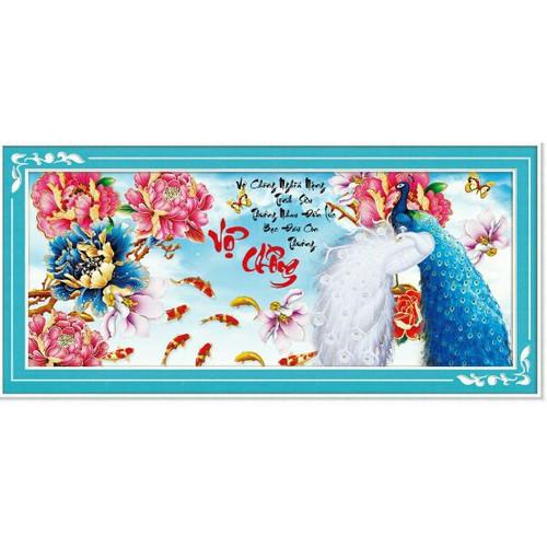 tranh thêu VỢ CHỒNG -ĐÔI CÔNG HOA MẪU ĐƠN KÍCH THƯỚC :78x40cm