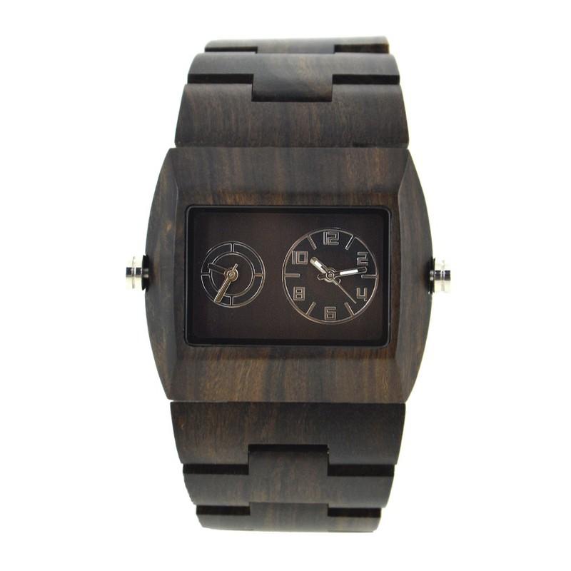 Đồng hồ điện tử nam chuyển động đôi bằng gỗ cao cấp 5