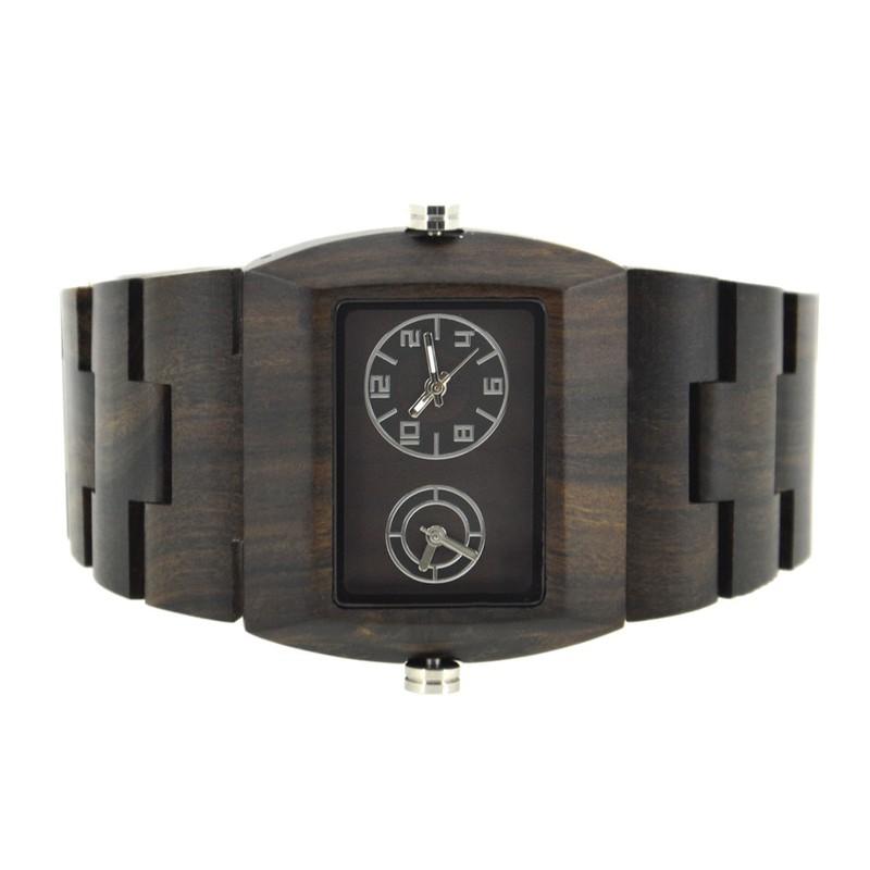 Đồng hồ điện tử nam chuyển động đôi bằng gỗ cao cấp 6