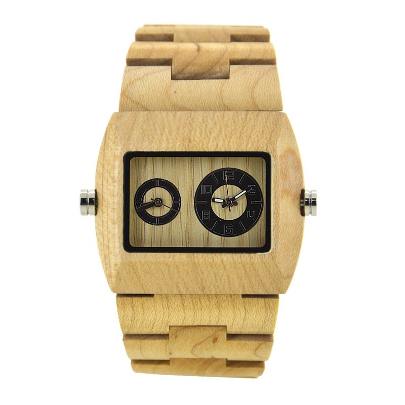 Đồng hồ điện tử nam chuyển động đôi bằng gỗ cao cấp 3
