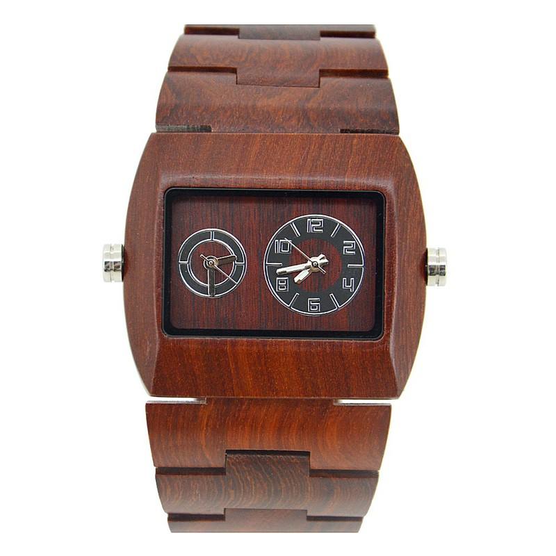 Đồng hồ điện tử nam chuyển động đôi bằng gỗ cao cấp 7