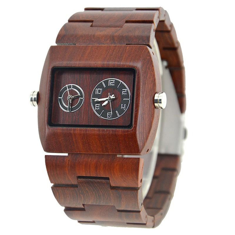Đồng hồ điện tử nam chuyển động đôi bằng gỗ cao cấp 8
