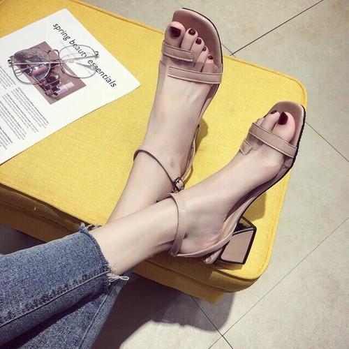 giày sandal cao gót nữ quảng châu quay trong phối da
