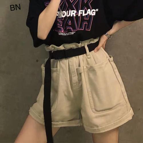 quần short nữ lưng cao hàn quốc ống rộng đẹp giá rẻ kaki túi ốp + dây đai BN 83487