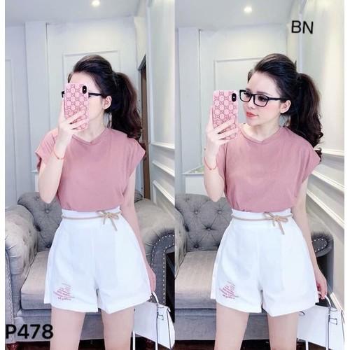 set đồ nữ đẹp chất cá tính dễ thương giá rẻ áo hồng + quần dây chữ  BN 36306