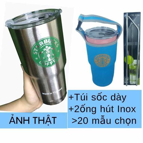 Bình Ly giữ nhiệt Thái Lan kèm Túi Đựng Ống Hút Inox và Dụng cụ rửa