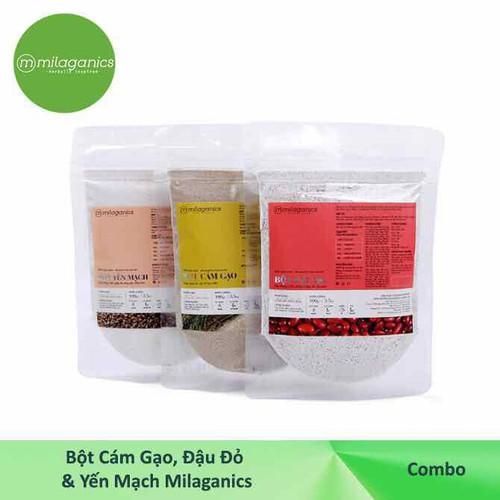 combo mặt nạ - tẩy tế bào chết: bột cám gạo - bột đậu đỏ - bột yến mạch