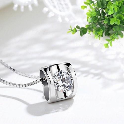 Dây chuyền bạc nữ Trái Tim Diệu Kỳ nạm đá lấp lánh, dây chuyền bạc nữ, vòng cổ nữ bạc S925 AZ-DC19