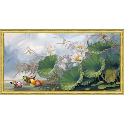 Tranh In canvas VTC Hoa sen 3 con vịt UD0154K-2A1 150 x 80 cm