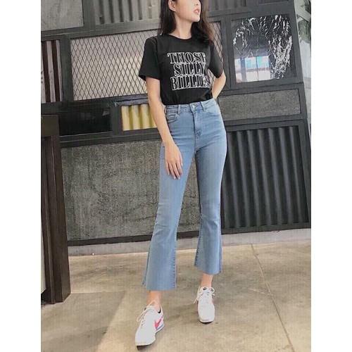 Quần jeans nữ dài ống rộng