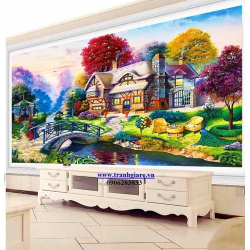 tranh thêu phong cảnh 150x75cm