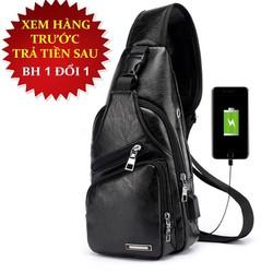 [ XẢ KHO ] Túi đeo chéo nam da cao cấp CLASSIC có cổng sạc USB và lỗ tai nghe thời trang