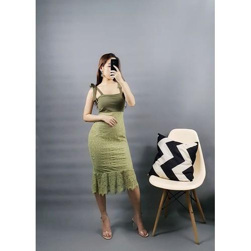 Đầm ren thô phối màu xanh rêu -Mua 2 tặng 1