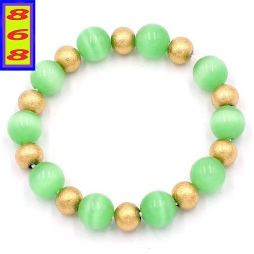 Vòng chuỗi đeo tay - đá mắt mèo xanh lá 10 ly VMEXLHVT1 - hợp mệnh Mộc, mệnh Hỏa