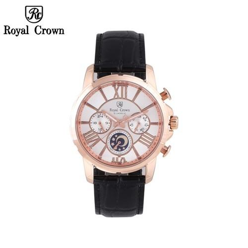 Đồng hồ nam chính hãng Royal Crown 8425 dây da đen vỏ vàng hồng