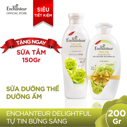 Combo sữa dưỡng thể dưỡng ẩm Enchanteur Delightful 200g tặng sữa tắm Delighful 150g - 9070434 , 18752100 , 15_18752100 , 73000 , Combo-sua-duong-the-duong-am-Enchanteur-Delightful-200g-tang-sua-tam-Delighful-150g-15_18752100 , sendo.vn , Combo sữa dưỡng thể dưỡng ẩm Enchanteur Delightful 200g tặng sữa tắm Delighful 150g