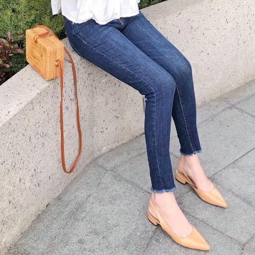 Quần jean nữ dài trơn