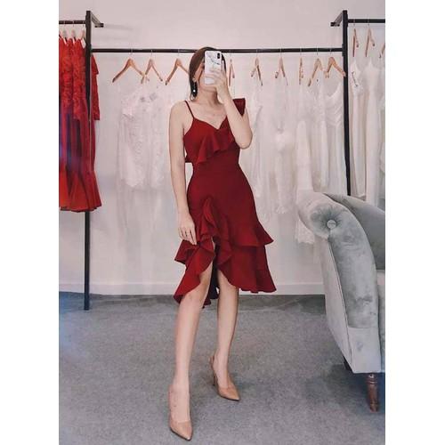 đầm đỏ 1d xẻ bèo
