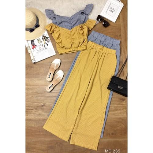 set áo croptop caro và quần suôn