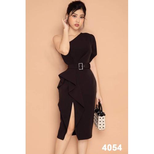 Đầm body đen đính nơ dự tiệc 4051