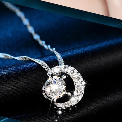 Dây chuyền nữ Ánh dương S925 nạm đá lấp lánh, vòng cổ bạc nữ, dây chuyền mặt đính đá, dây chuyền bạc TTB-DC56