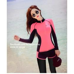 Đồ bơi dài tay Hàn Quốc áo khoác đen phối hồng