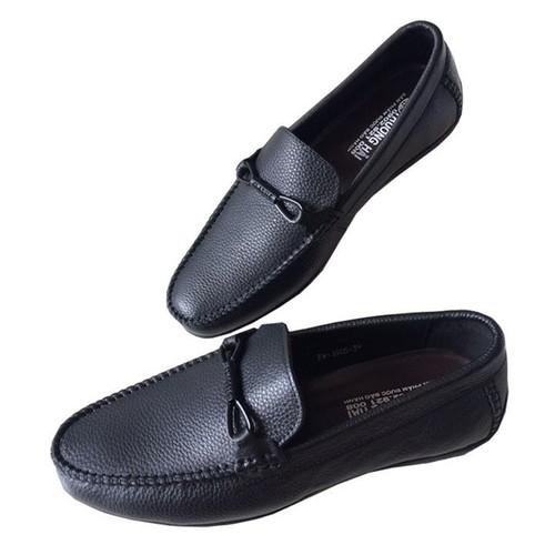 Giày mọi nam đen da bò cao cấp GM013