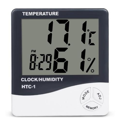 Nhiệt ẩm kế điện tử HTC-1 đa năng kiêm đồng hồ báo thức TẶNG KÈM PIN AAA