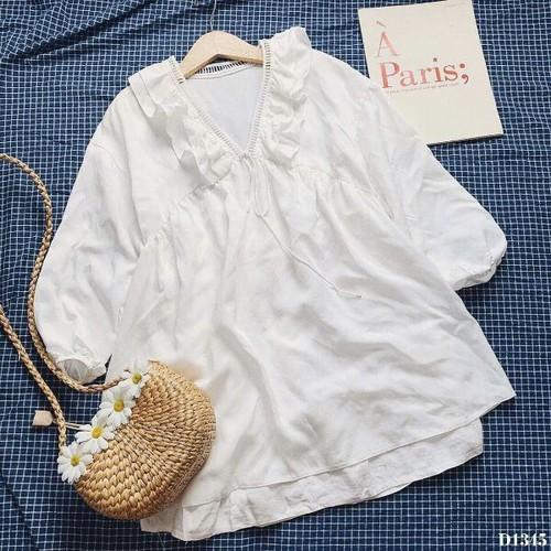 Đầm trắng cổ bèo viền ren