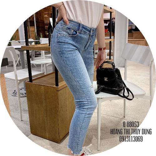Quần jeans nữ dài rách wash thời thượng