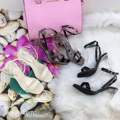 Giày sandal  cao gót da mềm 8 cm, giày đẹp giá rẻ
