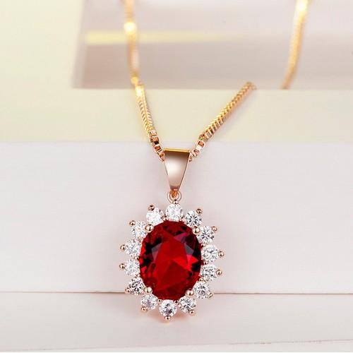 Dây chuyền nữ Hồng ngọc đính đá zircon siêu sang, vòng cổ bạc nữ, ruby ngọc, dây chuyền mặt đá TTB-DC46