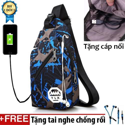 [ TẶNG KÈM TAI NGHE CHỐNG RỐI ] Túi đeo chéo nam siêu nhẹ YLX có khe cắm USB Tặng tai nghe dây rút thời trang