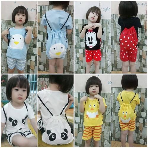 Bộ quần áo trẻ em, đồ bộ trẻ em, Đồ bộ hoạt hình, set 3 đồ bộ cotton tay ngắn bé trai bé gái kèm ba lô in hoạt hình ngộ nghĩnh cho bé từ 8kg đến 22kg - 9090690 , 18782300 , 15_18782300 , 99000 , Bo-quan-ao-tre-em-do-bo-tre-em-Do-bo-hoat-hinh-set-3-do-bo-cotton-tay-ngan-be-trai-be-gai-kem-ba-lo-in-hoat-hinh-ngo-nghinh-cho-be-tu-8kg-den-22kg-15_18782300 , sendo.vn , Bộ quần áo trẻ em, đồ bộ trẻ em, Đồ