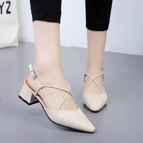 Giày Sandal Cao Gót Đế Vuông Mũi Nhọn Dây Chéo Chữ X