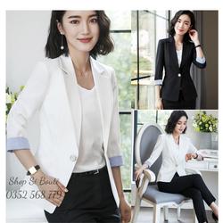 Áo khoác vest blazer phối màu sang trọng - nhiều size, form dáng chuẩn, thích hợp mặc công sở