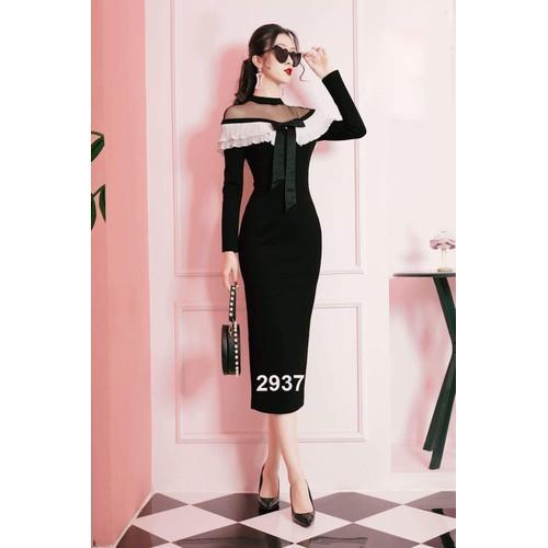 Đầm body đen phối ren trắng dự tiệc 2937