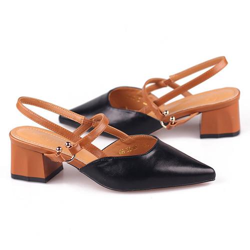 Giày Sandal Cao Gót Mũi Nhọn Trơn Móc Cài Chữ C Năng Động