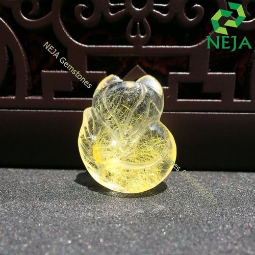 Mặt Dây Chuyền Hồ Ly Thạch Anh Tóc Vàng NEJA Gemstones