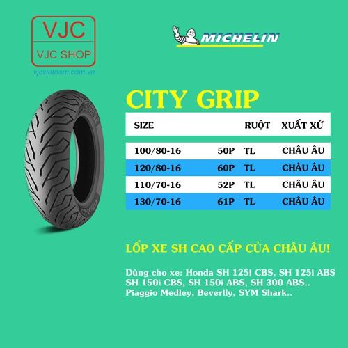 Vỏ xe Michelin City Grip vành 16 cao cấp Châu Âu, chính hãng, bảo hành 6 tháng, tổng kho HCM