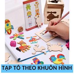 Đồ chơi giáo dục Bộ khuôn vẽ cho trẻ em: 52 chi tiết hoạt hình + Vở + Bút chì + Gọt bút chì + 12 bút màu