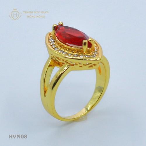 Nhẫn nữ đính đá đỏ vàng non cao cấp - Trang Sức Hava Hồng Kông