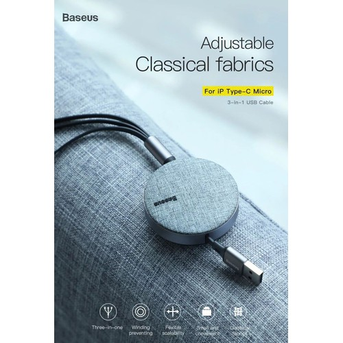 Cáp sạc Fabric 3 in 1 Flexible cuộn tròn Baseus