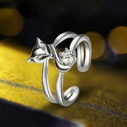 Nhẫn Hồ ly vượng tình duyên S925 nạm đá cao cấp, nhẫn bạc nữ cá tính, nhẫn nữ phong thủy, nhẫn hồ ly bạc 925 KR-Ri15