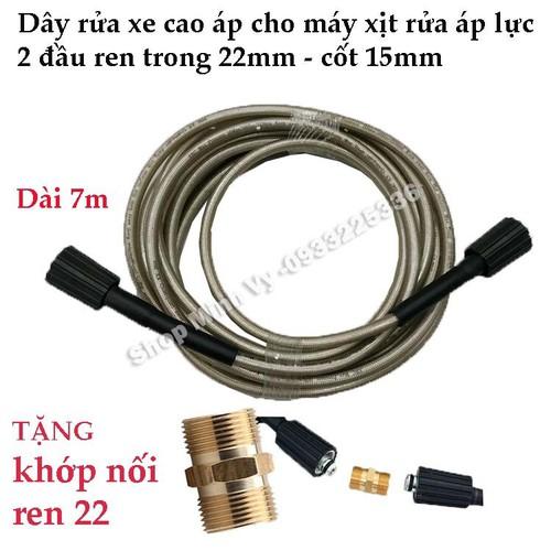 Dây rửa xe cao áp dùng cho máy xịt rửa áp lực - Ren trong 22mm Loại 7m - Tặng khớp nối dây - 9095466 , 18790360 , 15_18790360 , 350000 , Day-rua-xe-cao-ap-dung-cho-may-xit-rua-ap-luc-Ren-trong-22mm-Loai-7m-Tang-khop-noi-day-15_18790360 , sendo.vn , Dây rửa xe cao áp dùng cho máy xịt rửa áp lực - Ren trong 22mm Loại 7m - Tặng khớp nối dây