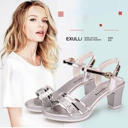 Dép guốc cao gót 7cm quai hậu  - Dép guốc sandal cao gót thời trang