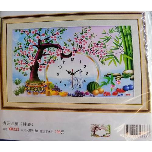 Tranh thêu chữ thập đồng hồ Cây đào - 9098863 , 18795358 , 15_18795358 , 100000 , Tranh-theu-chu-thap-dong-ho-Cay-dao-15_18795358 , sendo.vn , Tranh thêu chữ thập đồng hồ Cây đào