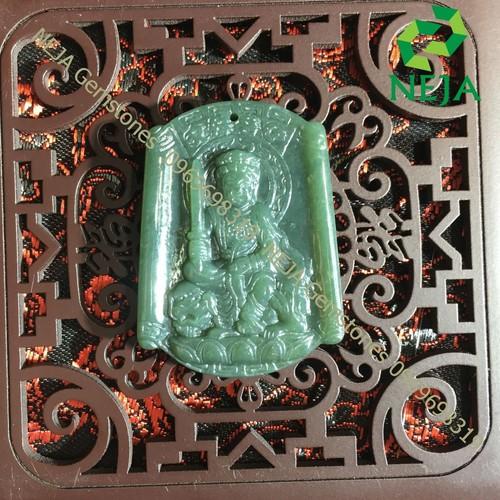 Mặt Dây Chuyền Phật bản mệnh Văn Thù Bồ Tát Đá Ngọc Bích - NEJA Gemstones